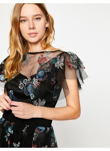Koton Çiçek Ve Tül Detaylı Midi Elbise Siyah